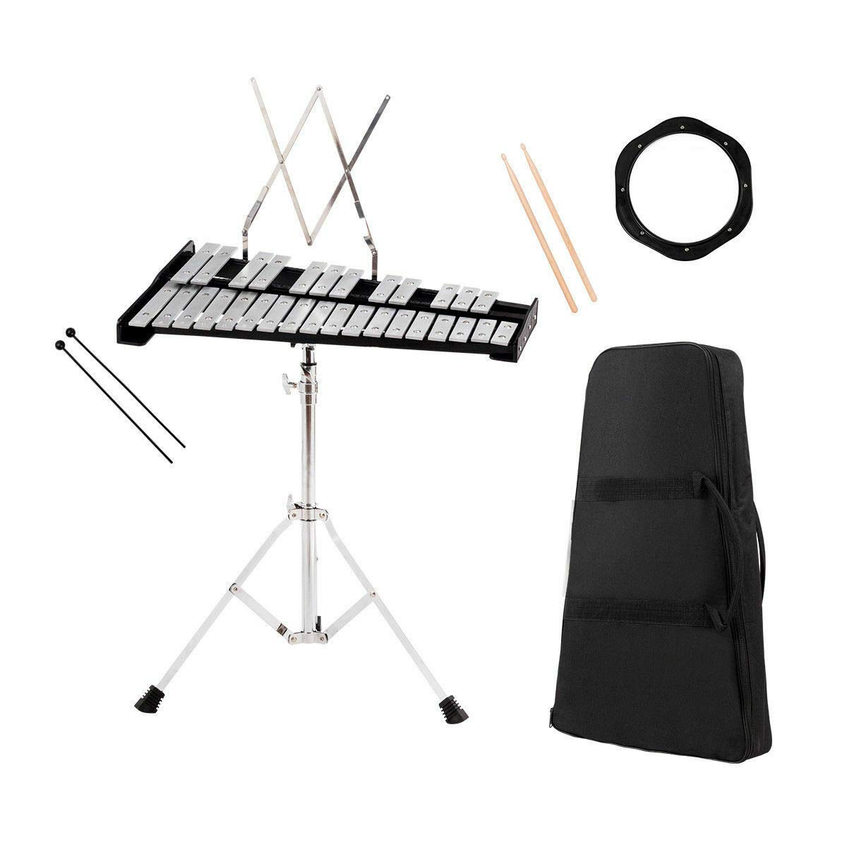 Percussion Glockenspiel Bell Kit 30 Notes w/Practice Pad +Mallets+Sticks+Stand