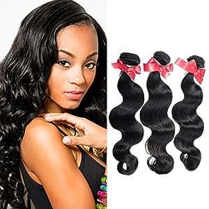 "Brazilian virgin hair body wave 3bundles Natural color #1B unprocessed Human hair weaves body wave good hair (14""16""16"")"