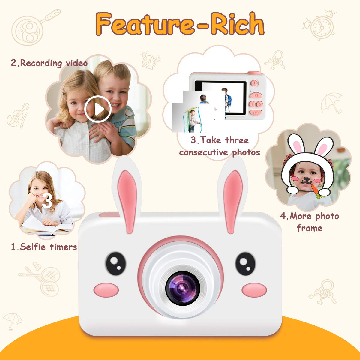 Kids Camera Gifts for Girls, 2'' IPS Screen 8.0MP Shockproof Mini Child Video Camera Camcorder for Age 3 - 14 Kids with Soft Rabbit Silicone Cover - Pink (16GB Memory Card Included) by AIXPI (Image #5)