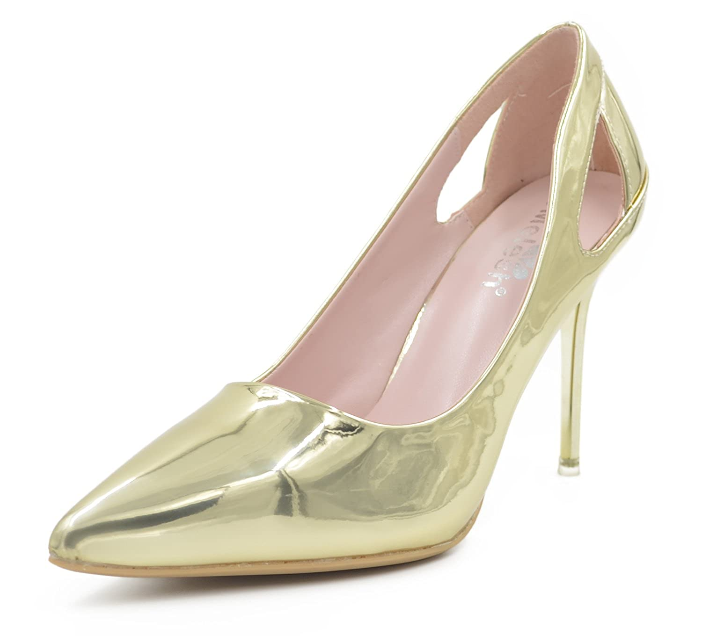 2a7fa1e6c0b99 Melesh Wedding Dress Pumps Shoes Bridal Women Pointed Toe High Heels Glazed  Leather