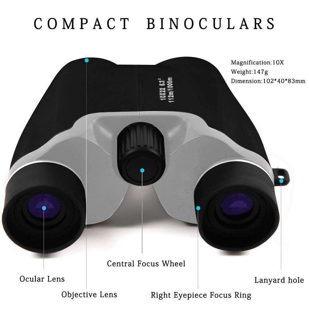 BBYaki Prismáticos de Bolsillo 10x22, 10x22, 10x22, Telescopio Binocular Compacto y Liviano para Observación de Aves, Viajes, Conciertos 10213c