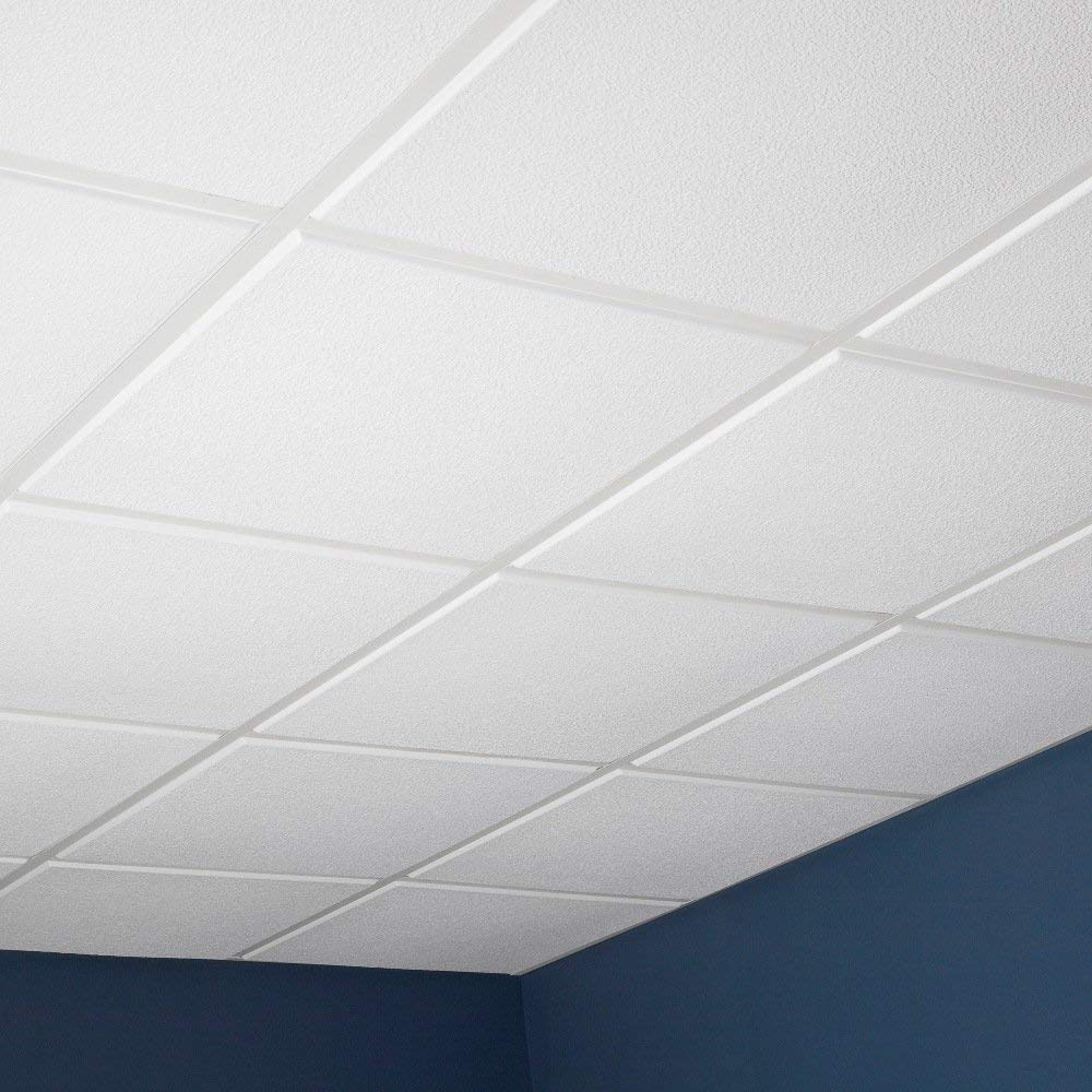 Genesis Easy Installation Stucco Pro Revealed Edge Lay-In White Ceiling Tile/Ceiling Panel, Carton of 12 (2' x 2' Tile)