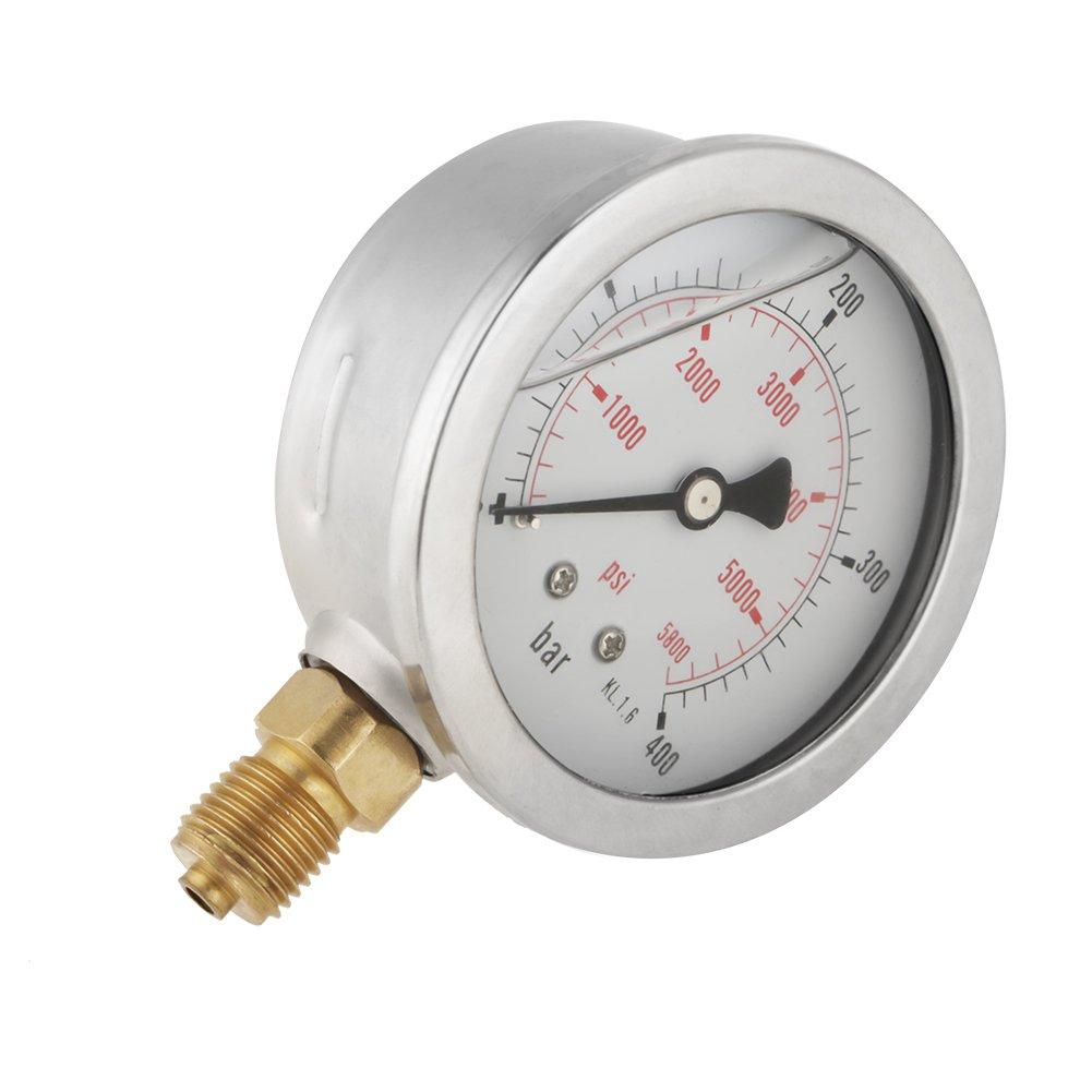 63mm Manometer Analog Gasdruckanzeige 0-250Bar 0~3750PSI f/ür Wasser Luft /Öl Dial Instrument Basis Eintrag G 1//4