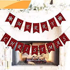 Jolik Merry Christmas Banner with Two Snowflake Flags - Buffalo Plaid Banner Decoration for Fireplace Wall Tree Christmas Decoration