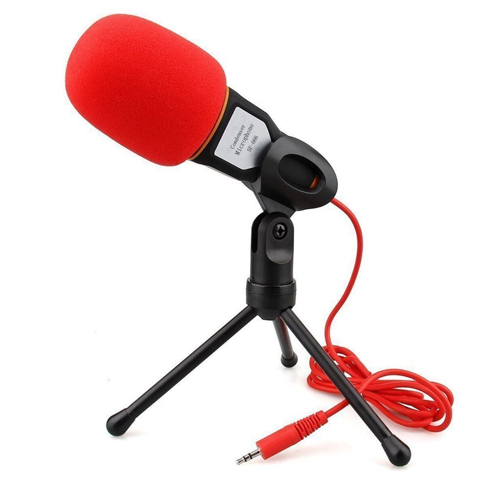 Elinka Professional Condenser Sound Podcast Studio Microphone for PC Laptop Skype MSN Computer Recording Black with Windscreen Sponge Sleeve 4330232971