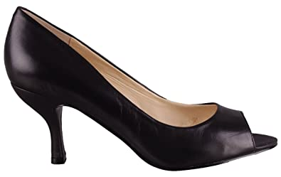 cf6ed5fdb2c6 Nine West Womens Shoes Quinty Peep-Toe Heel Pumps Black Leather SIZE  6 M