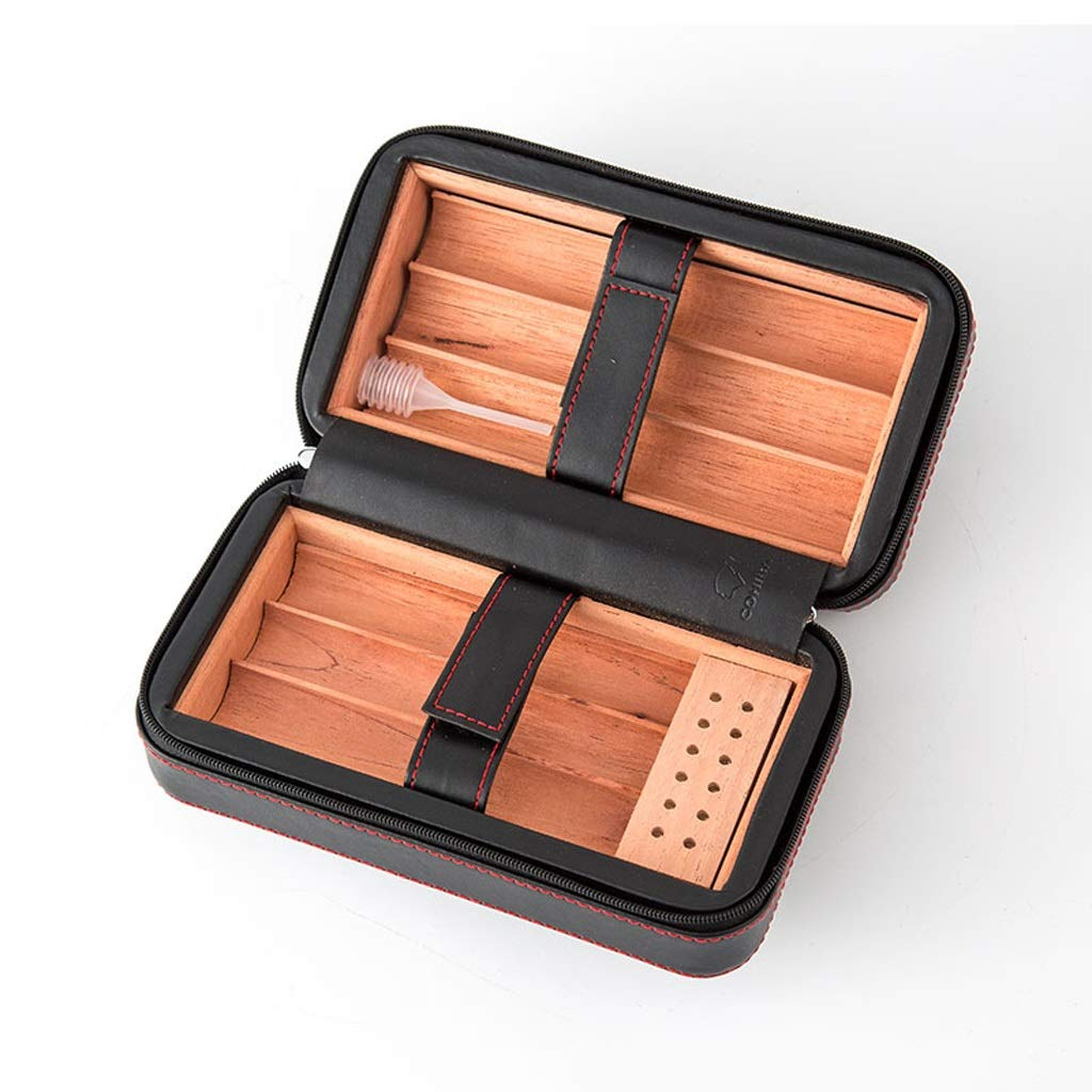 Cigar Holster Cigarette Cigar Box,with Humidifier Cedar Wood Lined with Leather Surface Cigarette Case, Travel Portable Men's Gift Box Solid Wood Box, Constant Temperature and Humidity Ca