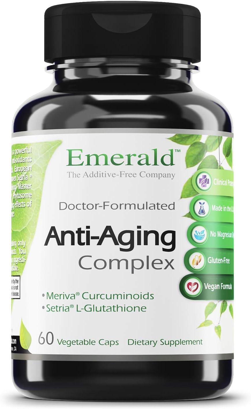 Anti-Aging Complex - with L-Glutathione, Resveratrol, CoQ10, R-Alpha Lipoic Acid, Meriva, Pomegranate, & More - Emerald Labs (Rainforest) - 60 Vegetable Capsules
