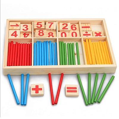 AchidistviQ - Bloque de Madera para Contar Cuentas, matemático, Juguete Educativo para niños de Montessori, Caja de Aprendizaje Digital de Madera con Barra de conteo de Varillas para niños: Hogar