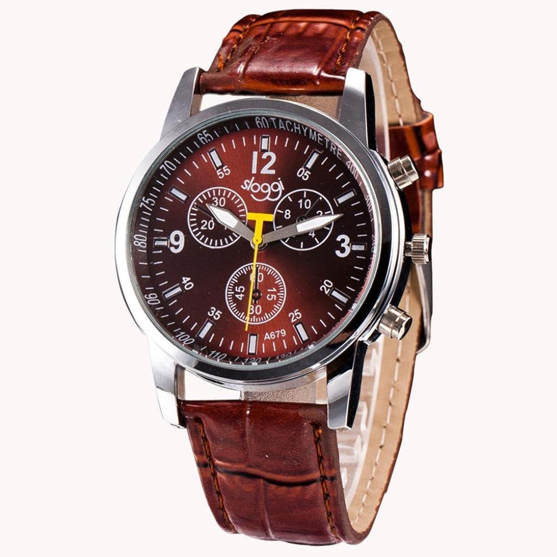 メンズ腕時計、Tomin Luxury Fashion Crocodile Faux Leather MensアナログWatch Wrist Watches ブラウン B072BBQCX3