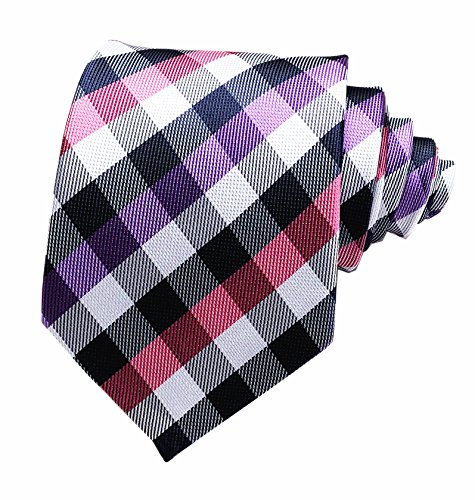 Secdtie Men's Slim Check Stripe Silk Ties Jacquard Formal Plaid Necktie for Gift (One Size, Purple Pink) ()