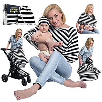 Amazon Com Nursing Cover Baby Car Seat Canopy Breastfeeding Cover Up For Boys And Girls Multi Use Infinity Mom Scarf Carry Bag And Baby Beanie Included By Engelstyling Baby