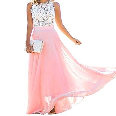 sale retailer 74392 1567f Tinksky Damen lang Kleid /Elegant Spitze Sommerkleid /Party ...