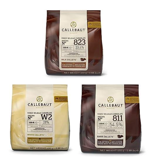 Callebaut 3 x 400g Bundle - Cobertura de Chocolate con Leche, Negro & Blanco Belga