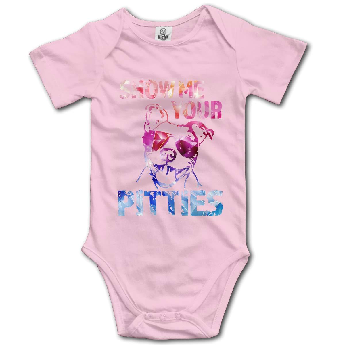 CHETI Show Me Your Pitties Newborn Infant Toddler Baby Girls Boys Bodysuit Short Sleeve 0-24 MonthsGray