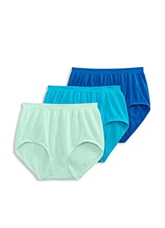 c20a2c22aee Jockey Women's Underwear Comfies Cotton Brief - 3 Pack, Blue/Turquoise Pack,  ...