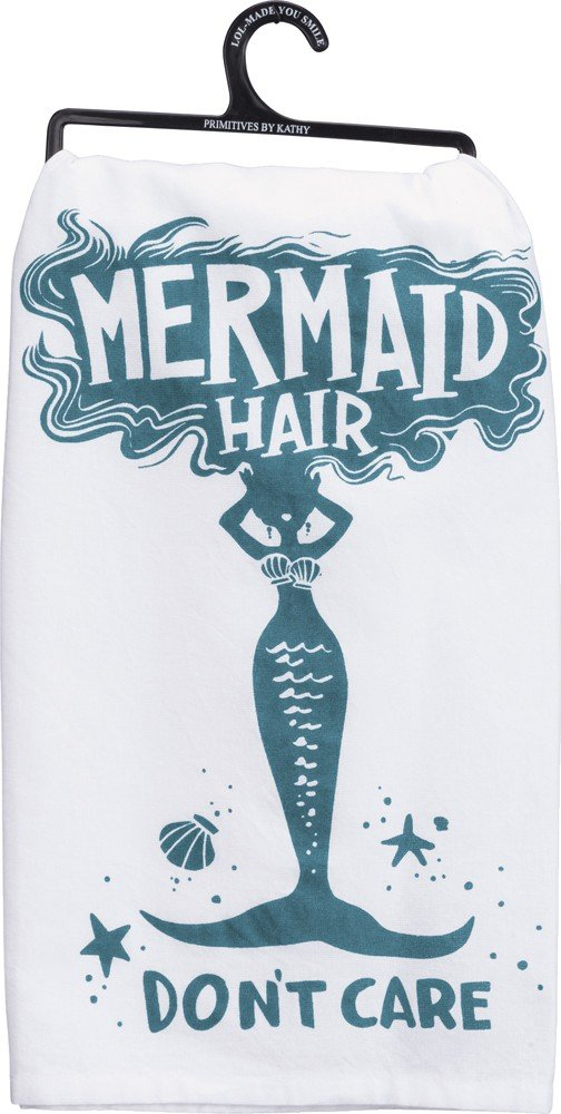 """Primitives by Kathy 35664 LOL Made You Smile Dish Towel, 28"""" x 28"""", Mermaid Hair"""
