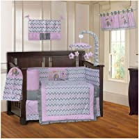 BabyFad Elephant Chevron Pink 10 Piece Baby Crib Bedding Set