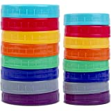 16 Pack Colored Plastic Mason Jar Lids for Ball, Kerr and More - 8 Regular Mouth & 8 Wide Mouth - Food-Grade Recyclable…