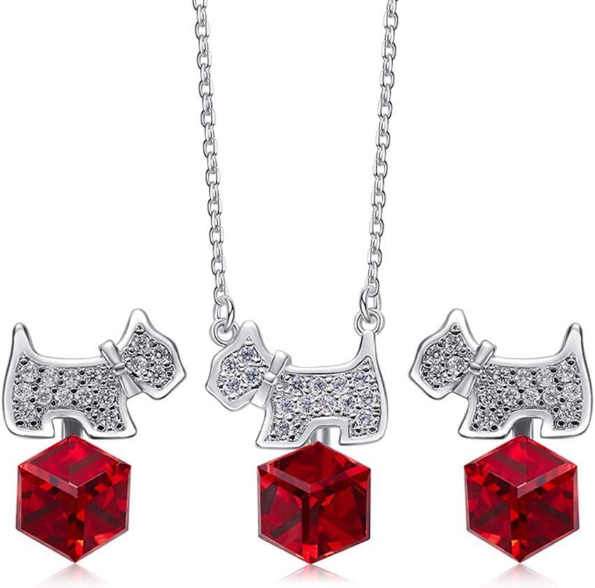 DEQIAODE Juego de Joyas para Mujer Collar de Perrito Pendientes de botón con Swarovski Elements Crystal Red