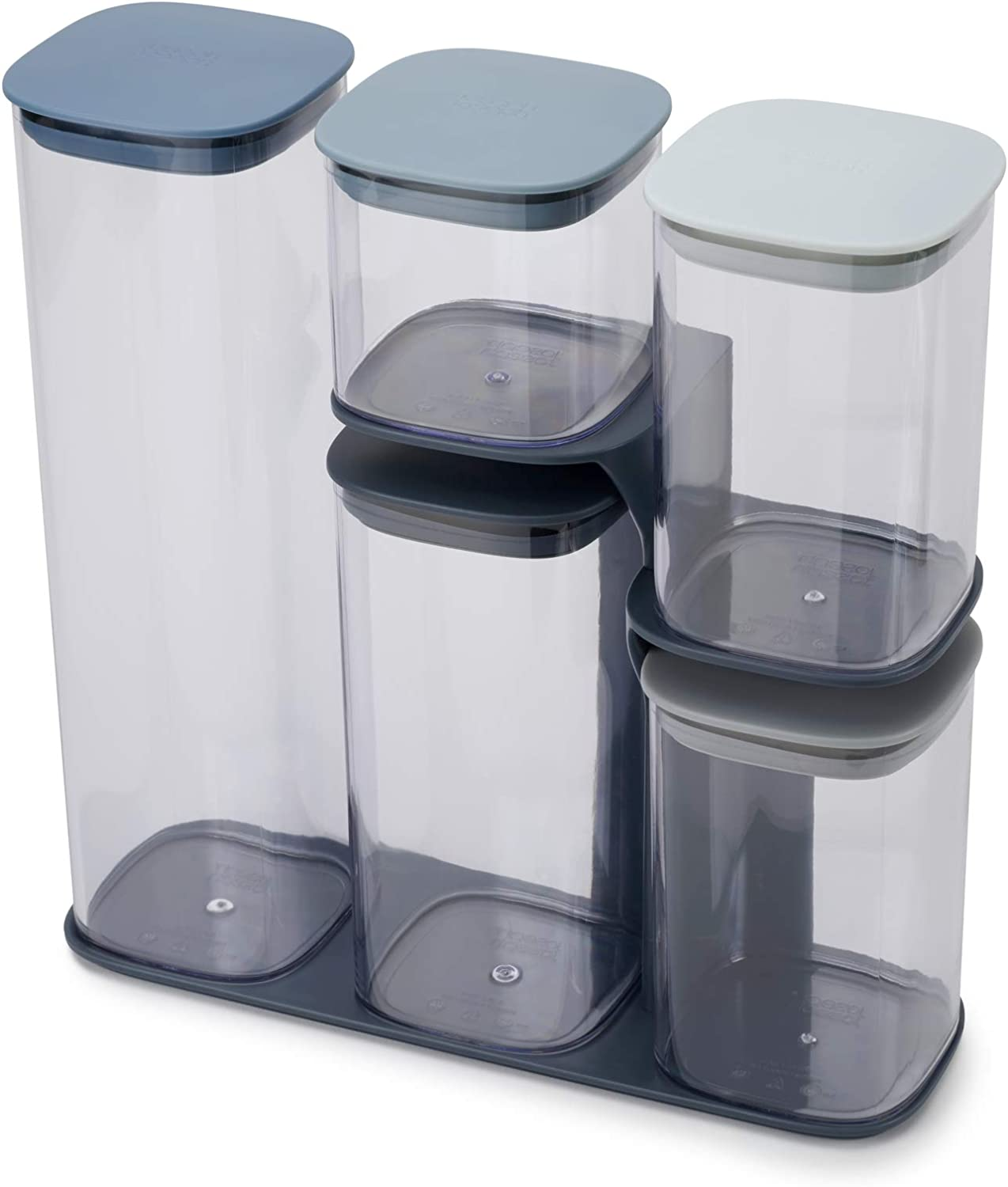 Joseph Joseph 81106 Podium Dry Food Storage Container Set with Stand, 5-piece, Editions Sky