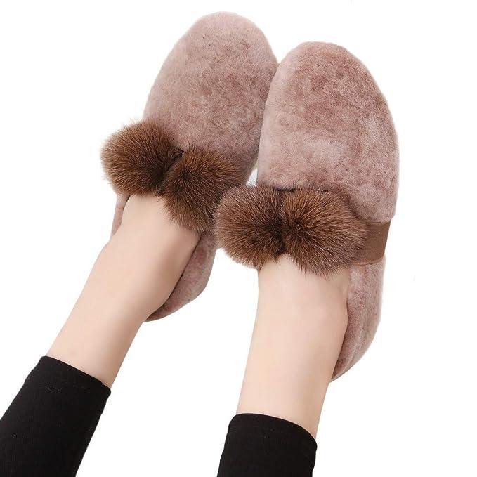 1decc37f399 Bestow Bola Redonda de Pelo de Zorro Cabeza Zapatos Casuales de Piel Zapatos  Perezosos Zapatos Planos
