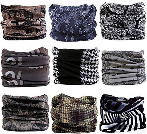 (KINGREE 9PCS Headwear, Womens and Mens Headband, Guys Sweatband & Sports Head Tie for ATV/UTV Riding, Outdoor Magic Scarf, Bandanna Headwrap, (Black&White))