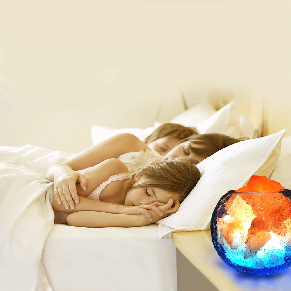 LUCKSTAR Natural Himalayan Crystal Salt Lamp- USB Natural Salt Crystal Chunks with Stripe Indoor Decoration Dimmer Switch Soft Warm Healthy Negative Ion Air Purifying Lamp,Table Lamp Bedroom Lava Lamp by LUCKSTAR (Image #7)