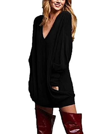 473bf584570 Zanzea Femme Casual Cavalier Sexy Col V Manches Longues Hauts Lâche Shirt Robe  Longue Blouse Noir