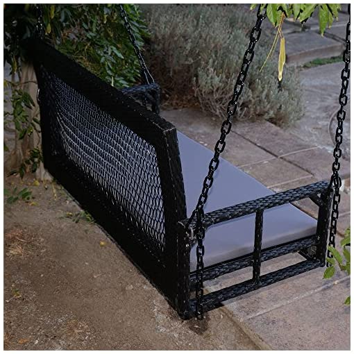 Black 60.5 Patio Porch Swing Chair Bench Resin Wicker Tree Ceiling Hanger Hanging WChains