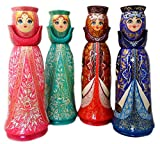 Assorted Russian Bottle Holder for Vodka Wine Wood Hand Carved Etched Painted 15 Inches