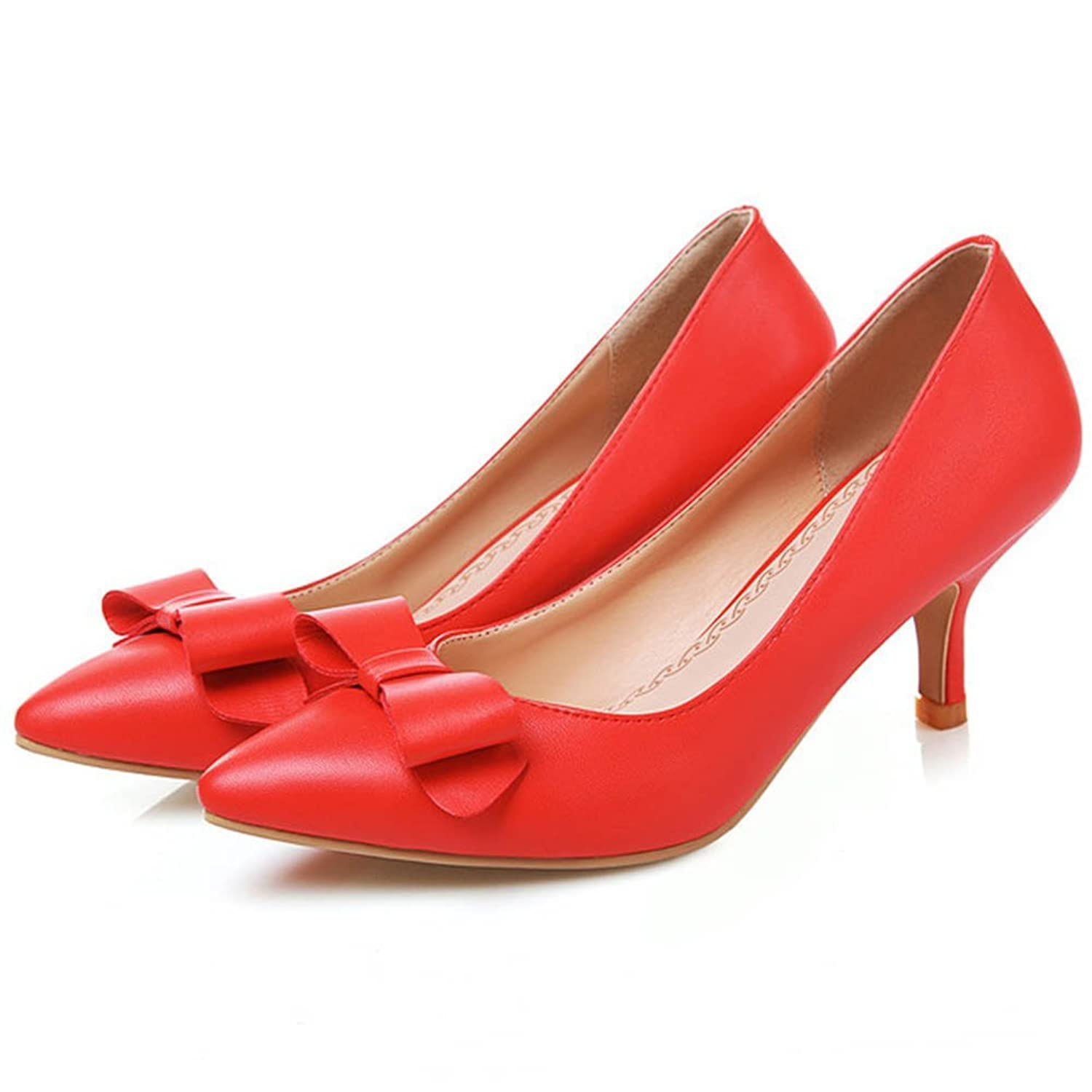 CHFSO Women's Elegant Pointed Toe Kittens Low Cut Pumps Shoes With Bowknot