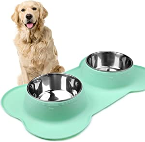 Vivaglory Dog Bowls Stainless Steel Water and Food Feeder with Non Spill Skid Resistant Silicone Mat for Pets Puppy Small Medium Dogs