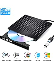 PiAEK Masterizzatore CD Dvd Esterno USB 3.0 e Tipo-C Lettore Dvd Esterno Portatile Lettore CD Esterno Compatible avec Windows 7/8/10/XP/Vista/Linux & Mac OS Laptop MacBook PC