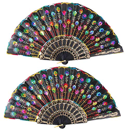 Hand Fans,2 Packs Elegant Embroidered Flower Pattern Fan,Elegant Colorful Sequin Fabric Lace Floding Hand Fan for Women Wedding Dancing Show Party Fairy Dress -
