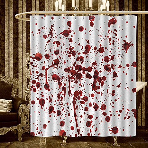 (warmfamily Horror Shower Curtains Mildew Resistant Splashes of Blood Grunge Style Bloodstain Horror Scary Zombie Halloween Themed Print Bathroom Decor Sets with Hooks 66
