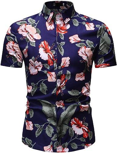 CAOQAO Camisa con Estampado de Flores cómoda y Sexy de los Hombres Camisa con Cuello Vuelto Slim Fit Camiseta de Manga Corta Top Blusa: Amazon.es: Ropa y accesorios