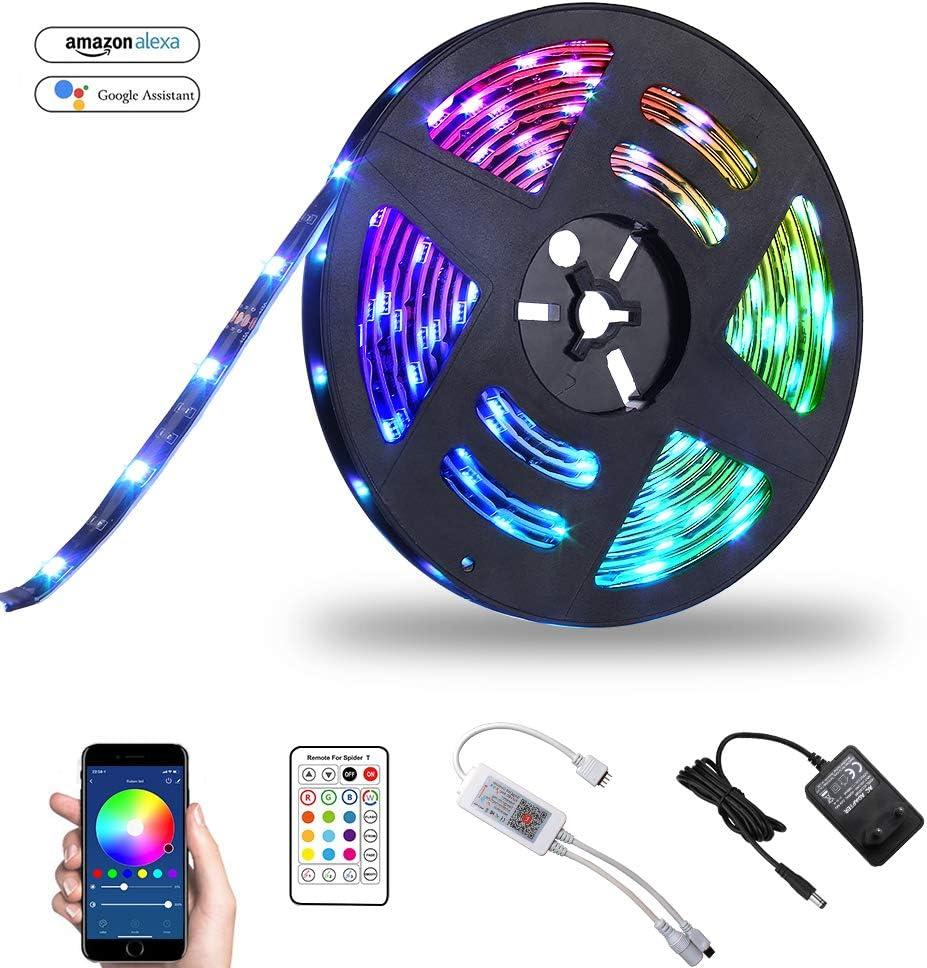 WIFI Tira LED Tira Iluminación Inteligente RGB 5M Bawoo 150 LED Cinta luminosa Wifi Tira luz Smart Strip LED Tiras Wifi Impermeable ALEXA Google Home IFTTT Teléfono Control Remoto 24 Teclas (Can 10m)