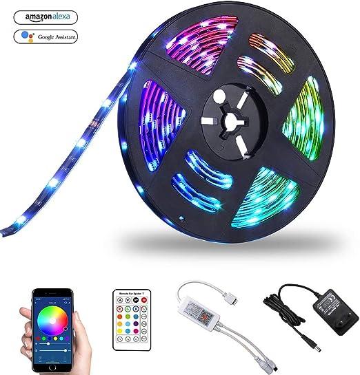 Mode et Luminosit/é R/églable T/él/écommande APP Compatible avec Alexa et Google Assistant Olafus 10M Ruban LED Intelligent Connect/é WiFi 300 LED 5050 Bande Lumineuse Couleur RGB