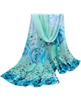 Perman Fashion Women Beautiful Rose Pattern Chiffon Shawl Wrap Stole Scarf Scarves