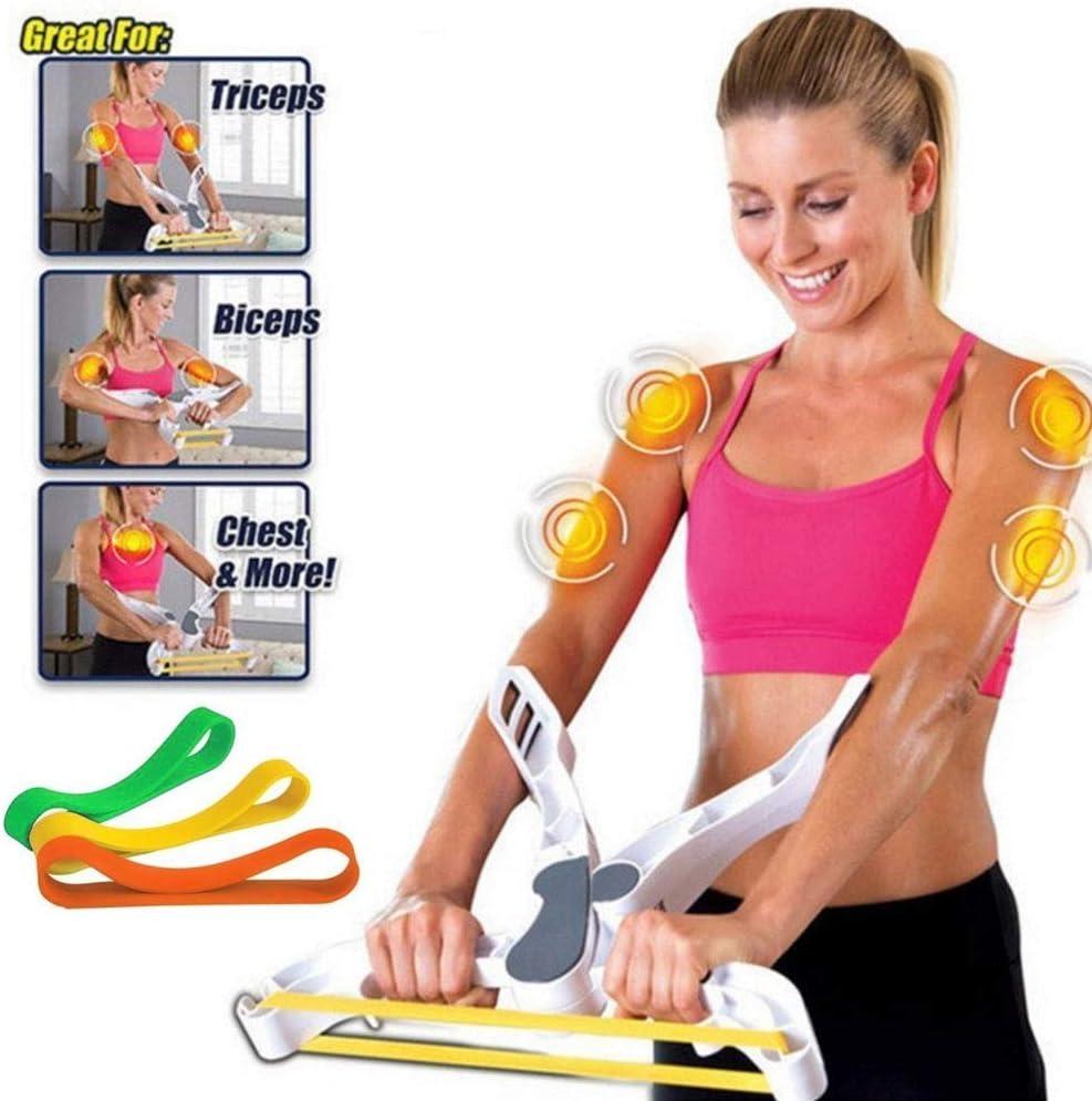 Fitness-Trainingssystem f/ür den Oberk/örper zu Hause Brust Kr/äftigt die Arme Schultern Letton Armtrainingsger/ät f/ür Frauen mit 3 elastischen Widerstandstrainingsb/ändern Bizeps Armtrainingsger/ät
