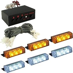 DIYAH 18 LED High Intensity LED Law Enforcement Emergency Hazard Warning Strobe Lights For Interior Dash Windshield (Amber and White)