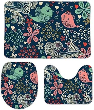 Osvbs Coral Velvet Non-Slip Bath Mat Set 3 Piece Bathroom Mat Set Includes Bathroom Rugs U-Shaped Contour Rug O-Shaped Toilet CoverColorful Floral in Doodle StyleFlowers and Birds / Osvbs Coral Velvet Non-Slip Bath Mat Set 3 Piece ...