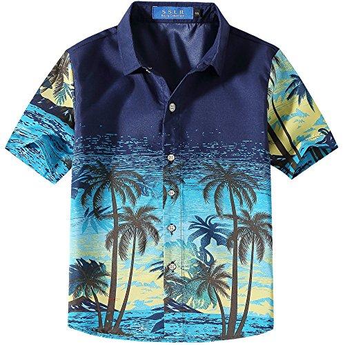 SSLR Big Boy's Hawaiian Shirt Short Sleeve Casual Button Down Aloha Shirt (Large (14-16), Blue) Luau Aloha Shirt