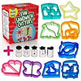 Appliances : Fun Sandwich and Bread Cutter Shapes for kids - 9 Crust & Cookie Cutters - PLUS 2 FREE Mini Heart & Flower Stainless Steel Vegetable & Fruit Stamp Set - Loved by both Boys & Girls alike!