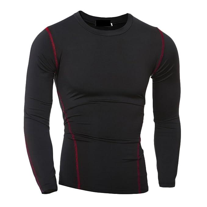 Uuyukメンズクイックドライ圧縮ティー長袖ジムTシャツ カラー: ブラック