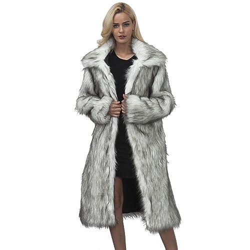 iBaste Largo Abrigo Solapa Pelo Sintético Mujer Invierno Chaquetas de Pelos Fur Jacket