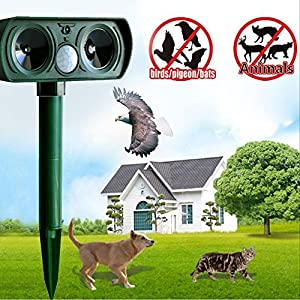 elecfan Outdoor Ultrasonic Pest Repeller, Solar PIR Sensor Animal Repellent Eliminator Rodent and Pest Repeller for Repeling Cats, Dogs, Mice, Squirrel