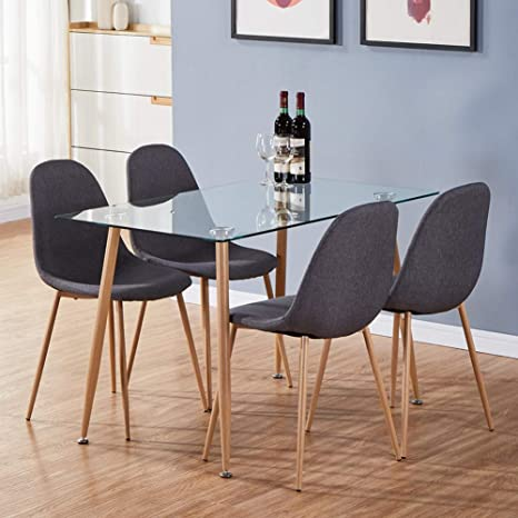 Surprising Goldfan Dining Table And 4 Chairs Eiffel Wood Style Rectangular Glass Kitchen Table And Fabric Chairs Dining Table Set 120 Cm Grey Andrewgaddart Wooden Chair Designs For Living Room Andrewgaddartcom