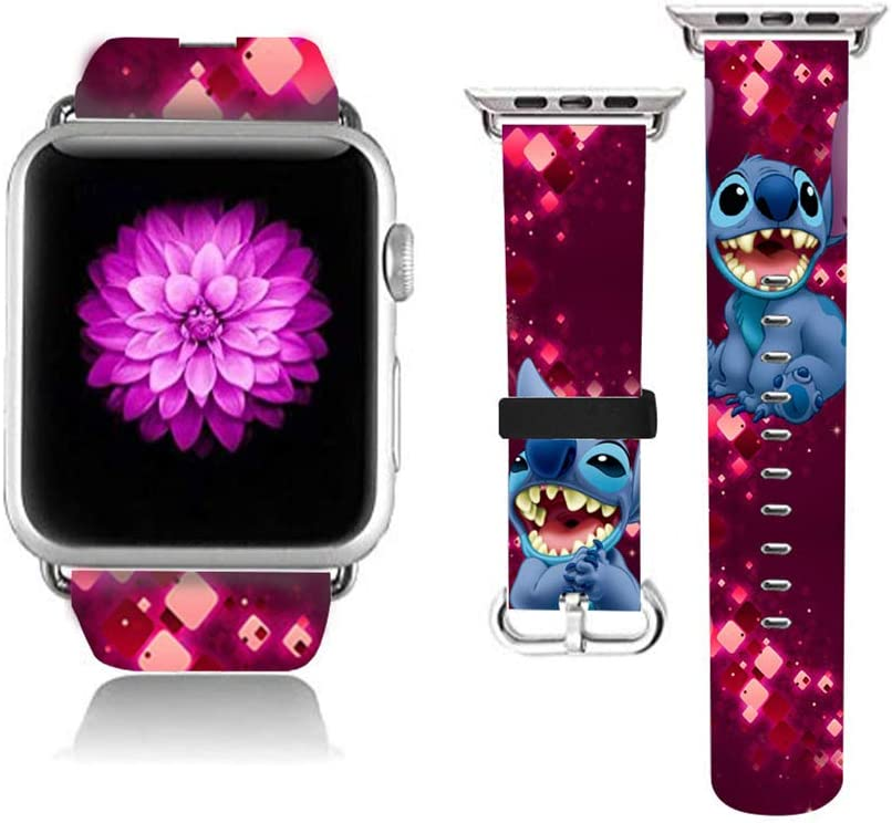 Watch Leather Band Stainless Steel Connector Watch Band Strap Lilo & Stitch Wristbands Replacement Compatible for Watch 38mm Series 6 Series 5 Series 4 Series SE Series 1 Series 2 Series 3 (38mm S/M)